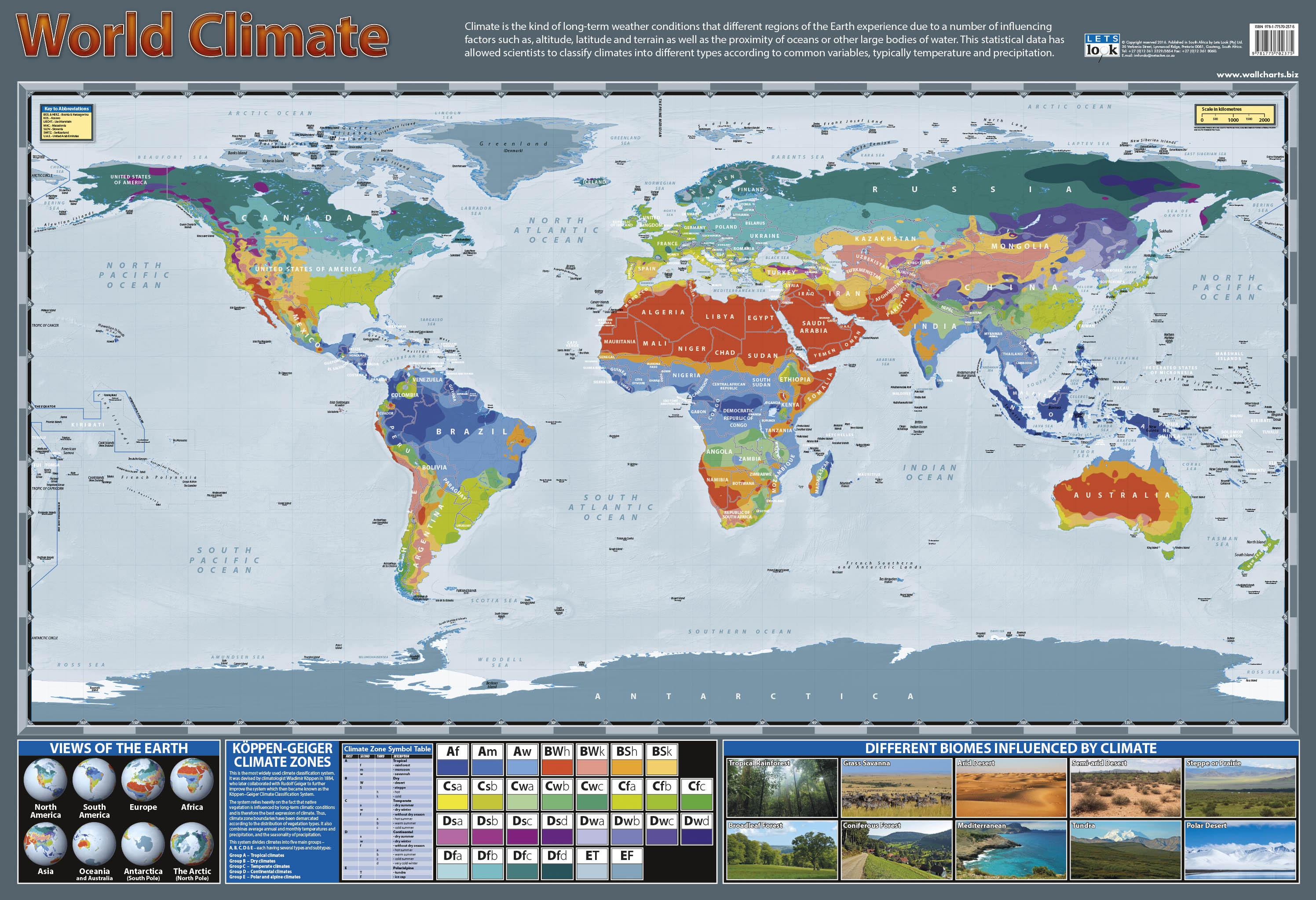 World Climate Zones - Laminated 76cm x 52cm